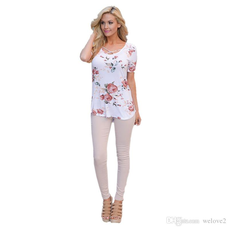 bf3825a3961 Short Sleeve Shirts Lace Up Floral Print Tops Summer Style Sexy V Neck  Criss Cross Top Casual Lady Female T Shirt Plus Size 3XL1135 Online Tshirt  Shopping ...