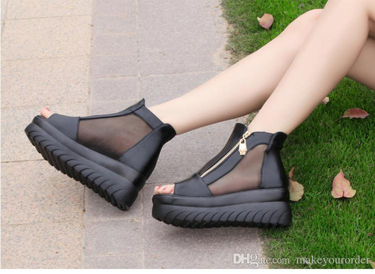 wholesaler factory price hot seller wedge heel peep toe platform women shoe roma style mesh &Lace sandals 173