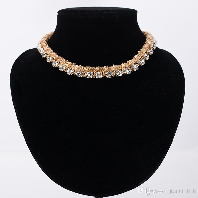 New Charm gold color Chains Choker Rhinestones Women Fashion Crystal Necklaces & Pendants Statement Vintage Jewelry # N028