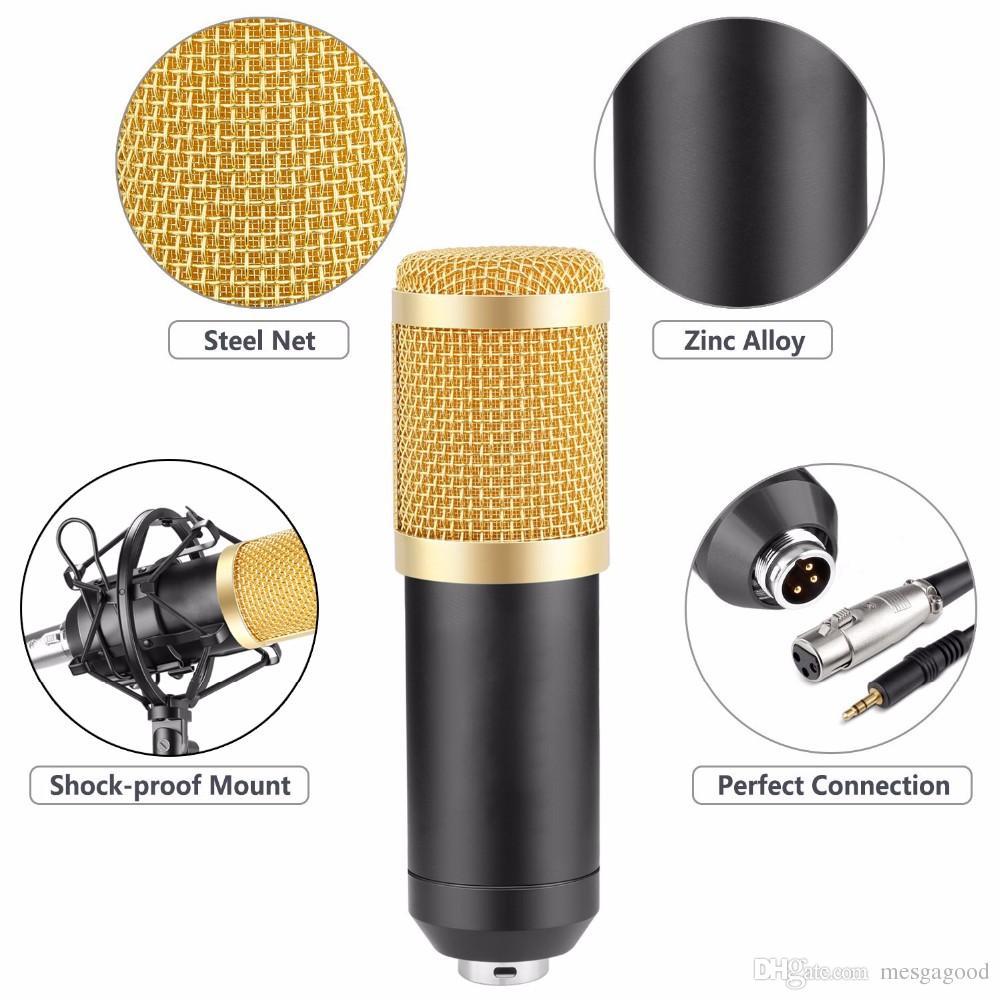 Atacado New BM-800 Microfone Condensador Gravação de Som Microfone de rádio com montagem de choque Braodcasting Microfone para PC Desktop bm800