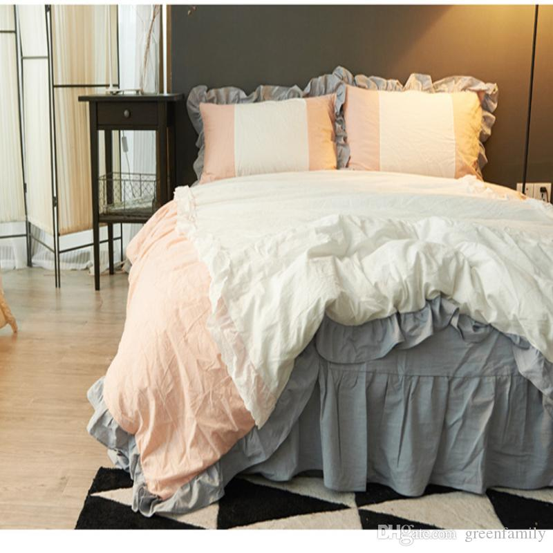 Ins Princess Washed Cotton Bedding Sets Flouncing Lace Bed