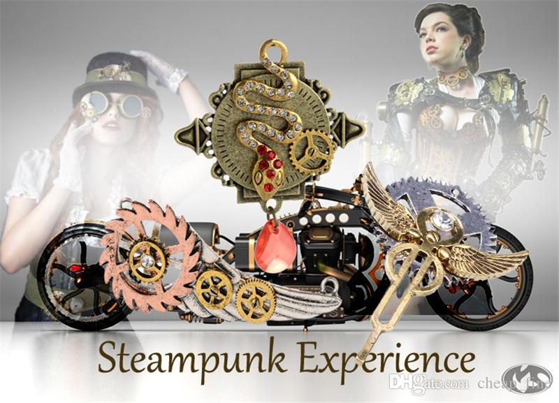 New Fashion Steampunk Statement Necklace Link Cable Chain Antique Bronze Piano with Clock Pendants 56cm Punk Style for Unisex