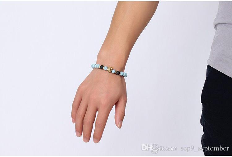 Türkis Lava Rock Perlen Charms Armbänder 2 Stile Anti-Müdigkeit vulkanischen Rock Charme Armbänder MenWomen Perlen Armbänder