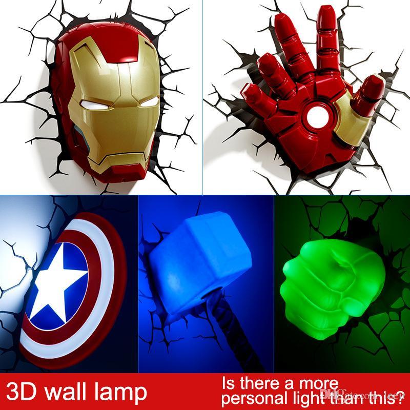 Avec Chambre 3d Marvel Nuit Avengers Lampe Coucher Led À Décorée Lumière Créative Murale Salon nPkwO80