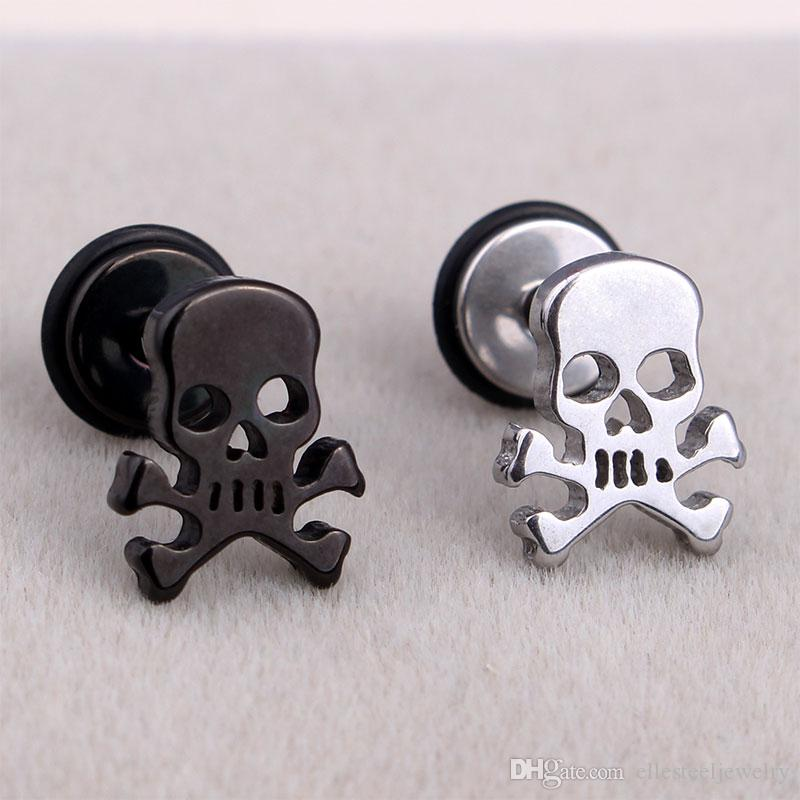 7b474af2f Fashion Punk Pirate Skull Ear Studs Stainless Steel Silver Black ...