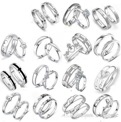 4b23b276e1c74 Mix 28 Styles 925 Sterling Silver Jewerly Rings DIAMOND ENGAGEMENT RING &  WEDDING BAND Couple Ring SET Free Shipping