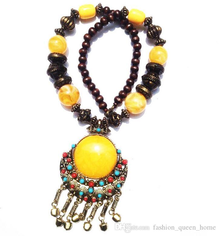 New vintage Jewelry Tibet nation Style Vintage bohemia big pendant Fashion statement Necklace classic Accessories Women F263