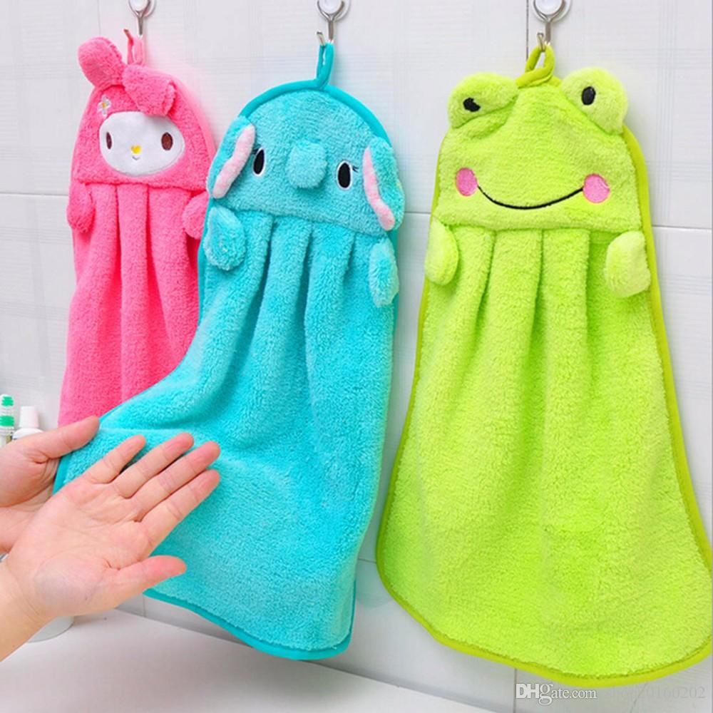 2018 Super Cute Cartoon Super Soft Coral Velvet Hand Towel Kitchen ...