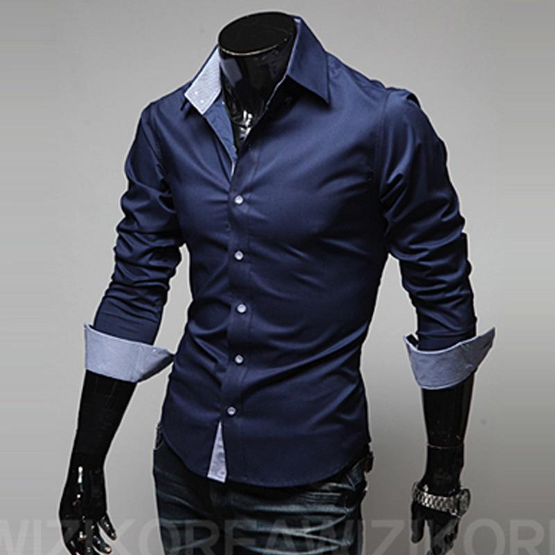 84aeb3438a8 2019 Wholesale 2017 New Fashion Mens Casual Shirts Brand Slim Fit Long  Sleeved Dress Shirts Chemise Homme Formal Business Shirts Size M 3XL From  Blueberry13 ...