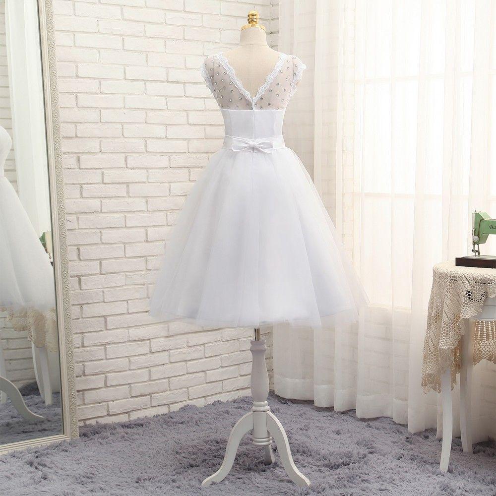 Informal Wedding Dresses 2017 Vintage Tea Length Tulle
