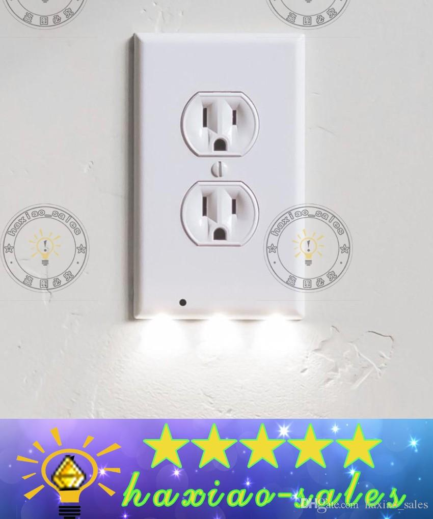 Light And Plug Covers 2018 Plug Cover Led Night Light Wall Outlet Face Hallway Bedroom