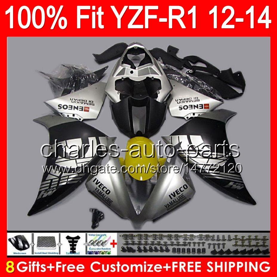 8gifts инъекции для YAMAHA YZF-R1 12 13 14 YZF R1 12-14 блеск серебро 96NO117 YZF 1000 YZF R 1 YZF1000 YZFR1 2012 2013 2014 черный обтекатель