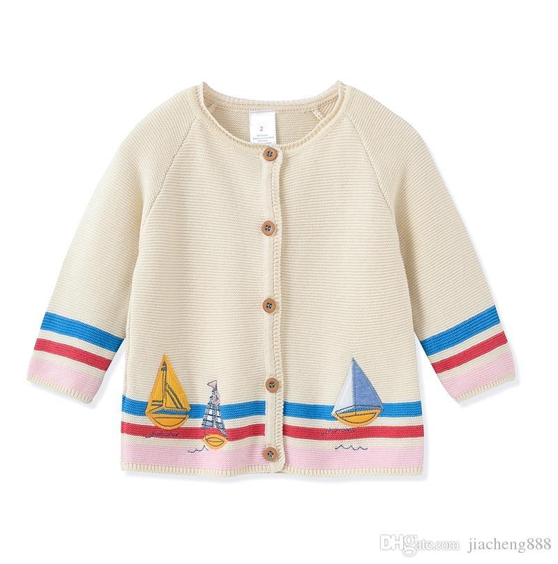 New Children Baby Sailing Pattern Knitted Cardigan Sweater Girls ...