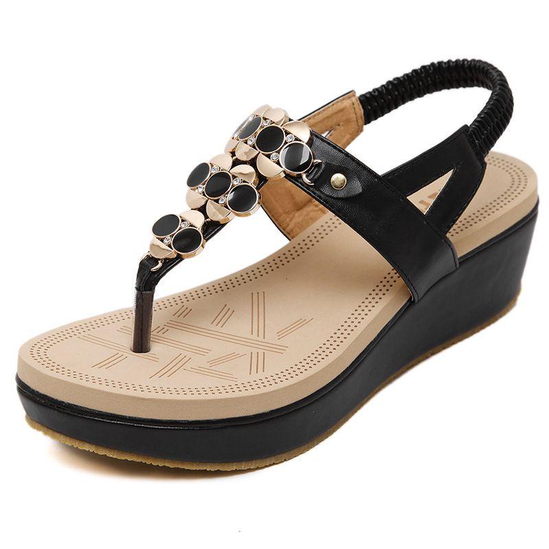 Sandales de femmes d'été Sandale de gladiateur de Bohême Sandales Femme Flip Flops Mesdames Chaussures de mode taille 35-41 eBVGhVR