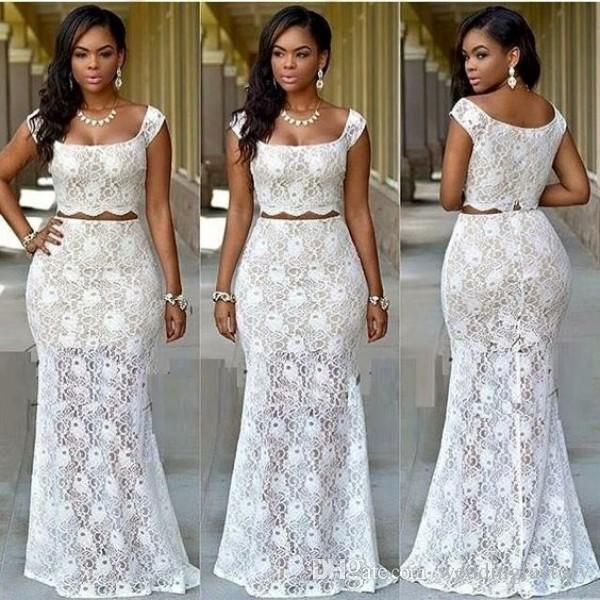 Recién llegado Vestidos de fiesta africanos de dos piezas Vestidos de novia Vestidos de noche Vestidos de fiesta Cena Vestido de recepción