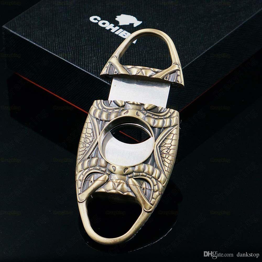 COHIBA Quality Snake Face Pocket Antique Copper Antique Bronze Sharp Dual Blades Pocket Cigar Cutter Portable