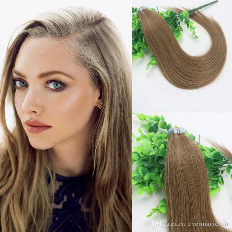 100g Tape In Human Hair Extensions Light Brown 8 Remy Tape Hair