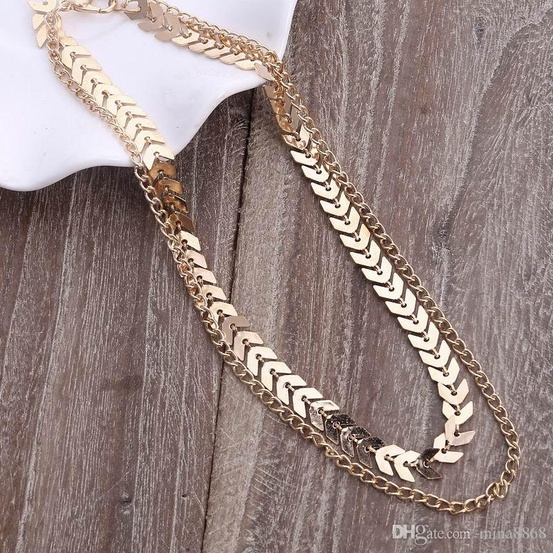 Hot Sales Adjustable Metal Fishbone Choker Necklace For Women Gold Tone double layer chain necklace wholesale