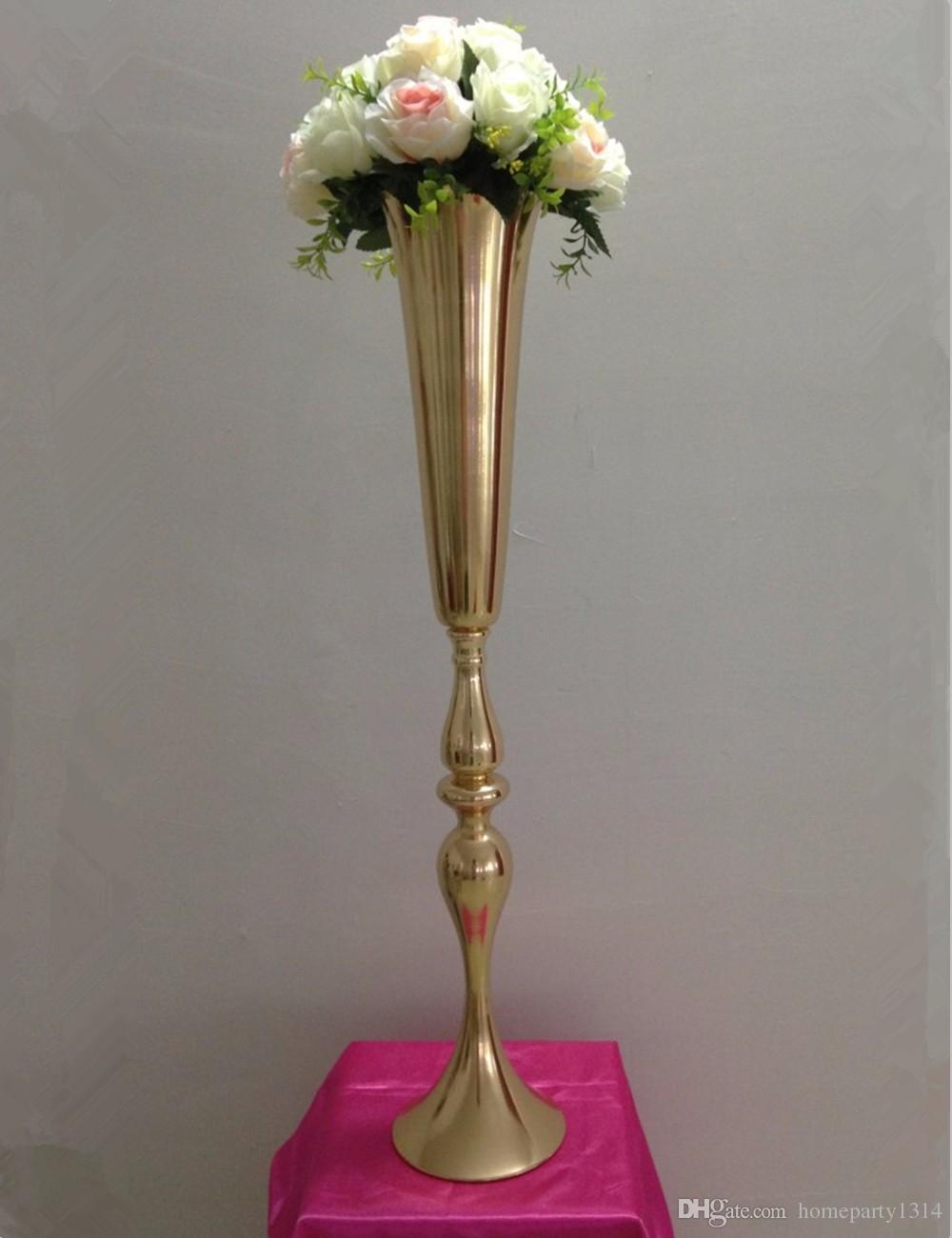2019 royal or argent grand grand vase de mariage table centres Decor Party Road Lead fleur titulaire en métal fleur rack pour bricolage événement