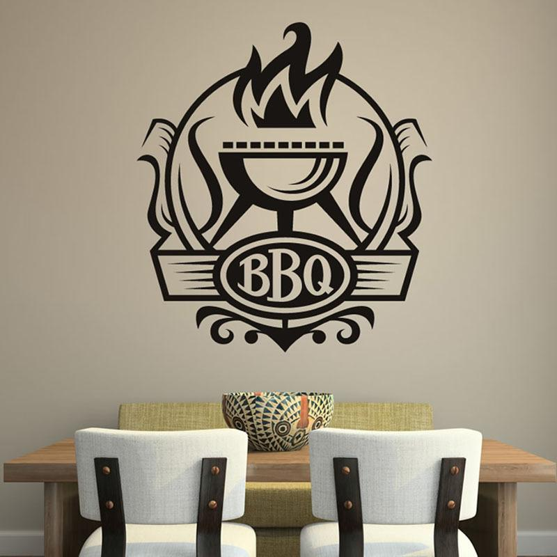 bbq badge decal vinyl waterproof home decor grill with fire wall
