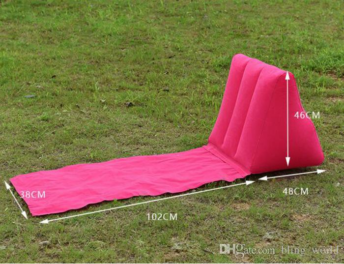 Gonfiabile Giardino Prato Pad PVC Floccaggio Cuscino gonfiabile Triangolo Cuscini Cuscini Outdoor Prato Beach Mat i YW136