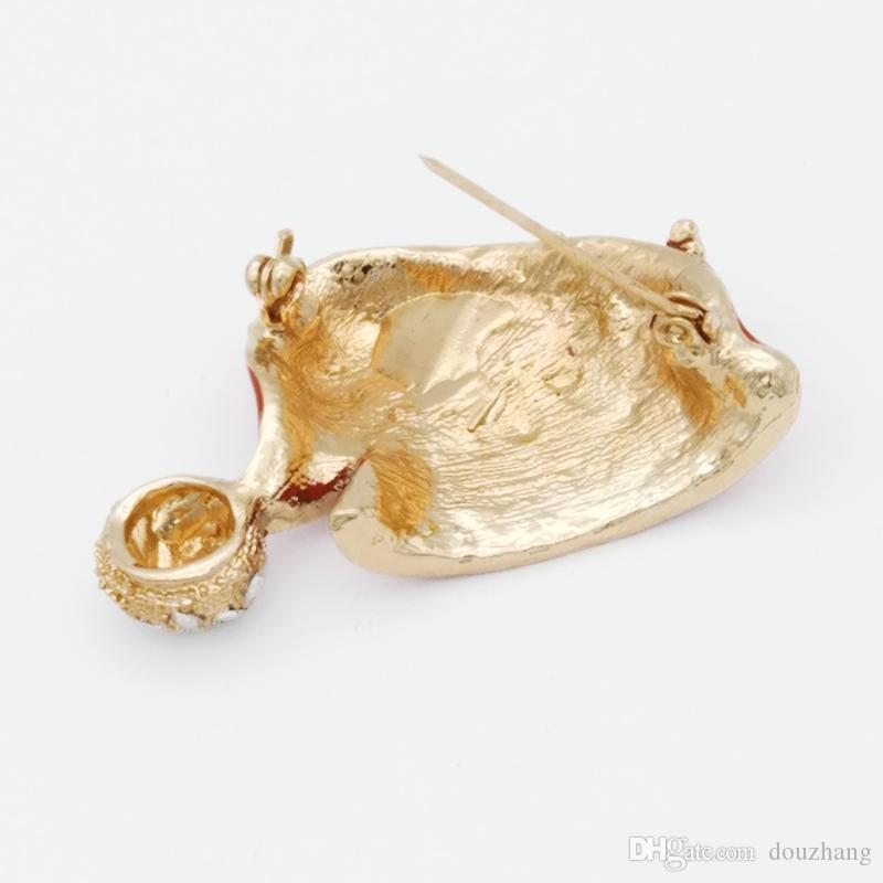 Hot Xmas Gift Christmas Hat Brooches Leaf Flower Rhinestone Red Enamel Santa Cap Brooch Pin Jewelry Wholesale