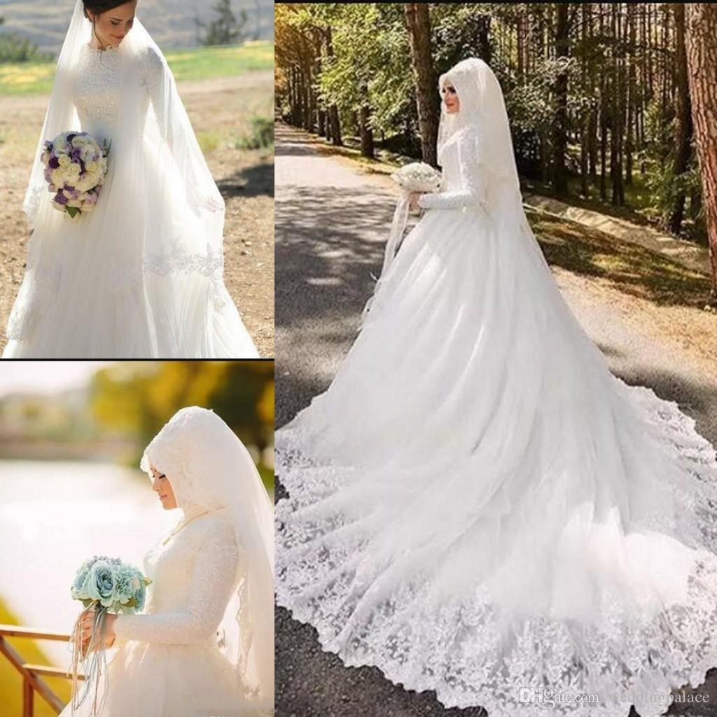 73a613f646ef Discount Saudi Arabic Dubai Middle East Muslim Lace Wedding Dresses  Vestidos De Novia Vintage High Neck Long Sleeves Appliques Bridal Wedding  Gowns Black ...
