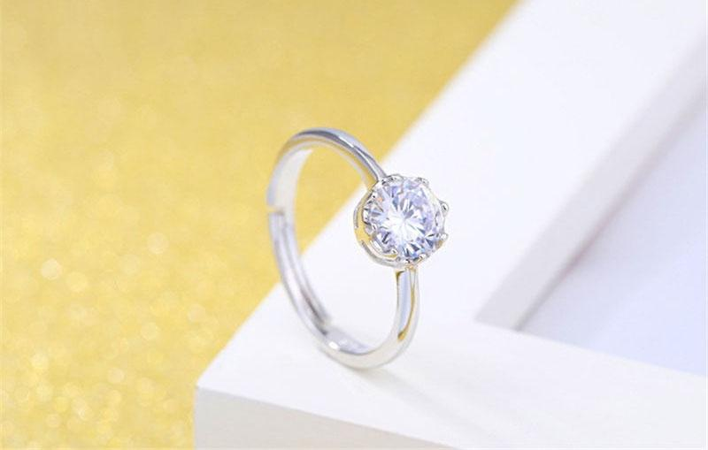 Zircon Crystal Crown Ring Adjustable Silver Ring Nail Rings for Women Bride Wedding Jewelry Will and Sandy DROP SHIP 080169