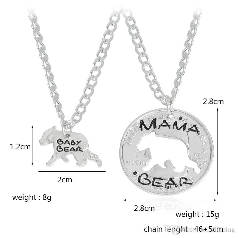 Fashion Jewelry Mama Bear Baby Bear Pendant For Women Girls Cute Silver Color Chain Necklaces