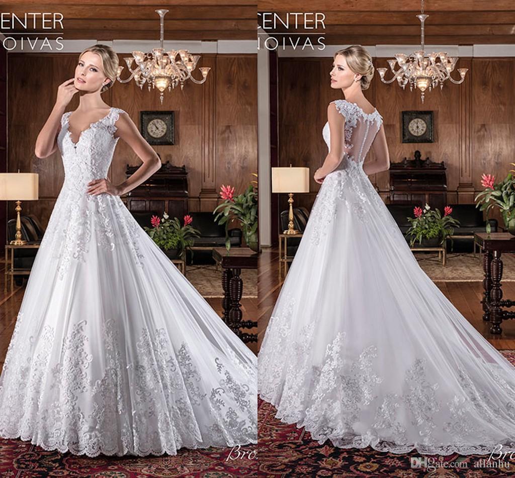 6eccb87fc3fc 2018 Vestidos De Noiva Wedding Dresses V Neck Lace A Line Sweep Train Wedding  Gowns Illusion Back Custom Made Cheap Bridal Dresses Wedding Dresses Bridal  ...