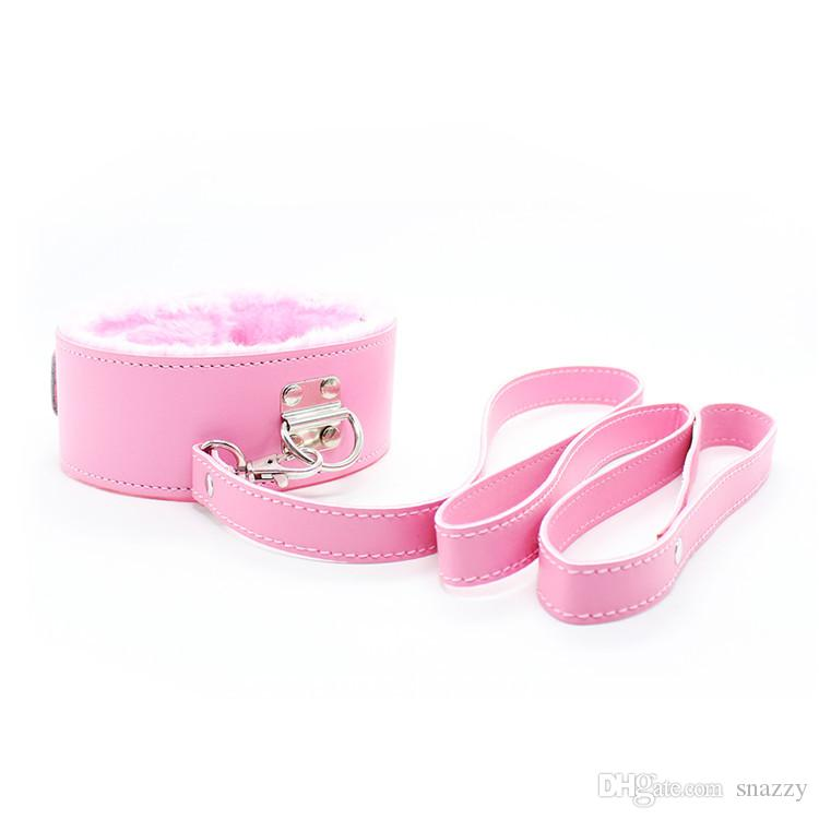 Bondage set for foreplay sex games pink plush handcuffs blindfold cross handcuffs ankle cuff collar leather whip ball gag 5cm rope BDSM