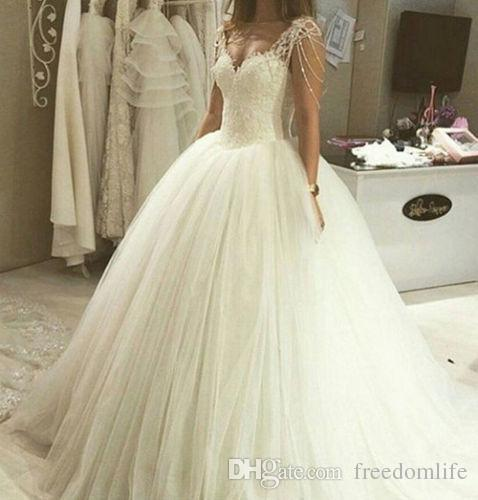 Drop Sleeve Wedding Gowns With: Modest Princess Ball Gown Wedding Dresses Cap Sleeve