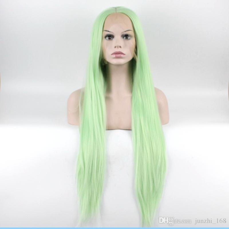 New Light Green Synthetic Lace Front Wig Silk Straight Heat Resistant  Glueless Synthetic Lace Front Wig For Black Women Wig Katy Perry Blue Wig  Malaysian ... 2da3034497