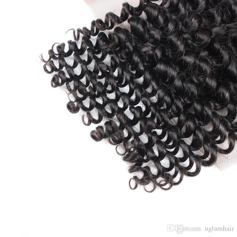Spitzenhaarverschlüsse 4x4 Spitze-Verschluss-mongolisches Jungfrau-Haar-verworrenes gelocktes Haar Freies Verschiffen UGlam-Produkte