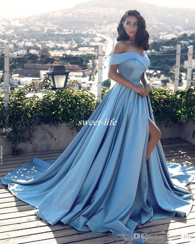 Sexy Sky Blue A Linha Fora Do Ombro Vestido de Noite Side Dividir Prom Vestidos De Cetim Vestido Longo Ocasião Especial Vestidos Árabes 2019