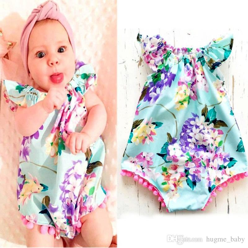 1760822dbe95 2019 INS New Children Jumpsuits Girls Floral Printed Tassel Romper ...