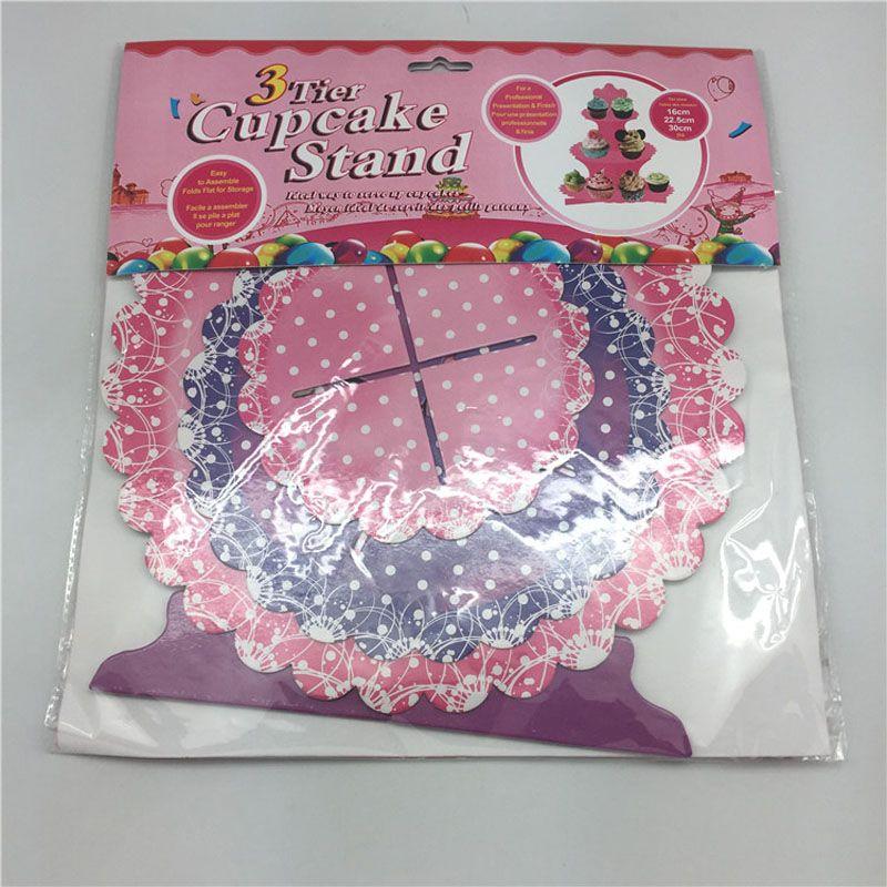 Каваи торт стенд день рождения бумаги торт стенд круглый кекс пластины для свадебный торт дисплей украшения 3 слоя ZA3035