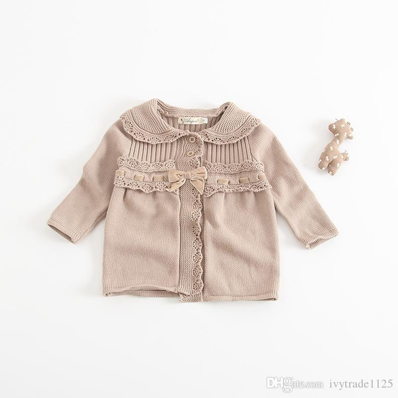 In stock INS styles new arrival pet pen collar children long sleeve 100% Cotton cardigan kids girl casual cute cardigan sweater coat