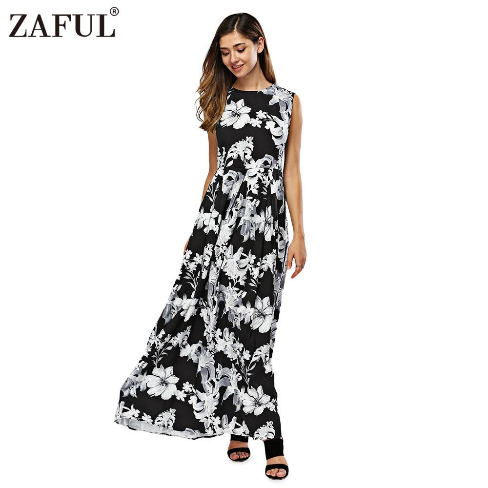 0bb780f63eca 2019 Wholesale ZAFUL New Women Long Summer Dress Retro Floral Print Vintage  Dress Sleeveless Floor Length Female Party Maxi Dress Vestidos From  Edmund02, ...