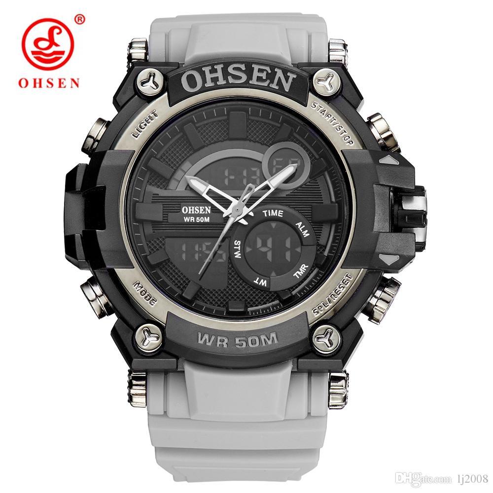 bf89353e373 2017 Fashion OHSEN Quartz Digital Watch Men 50m Swim Sports Watch Rubber  Band MAN Date Day Display Wristwatch Relogio Masculino Wrist Watches Buy  Online ...