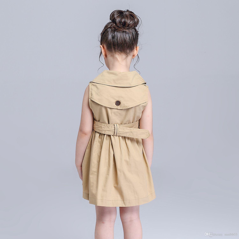 Neue Frühlings-Sommer-Mädchen-Kleid Zweireiher Ärmel Weste-Kleid Europa Mode-Kind-Kind-Prinzessin plissierte Kleider mit Gürtel 10802