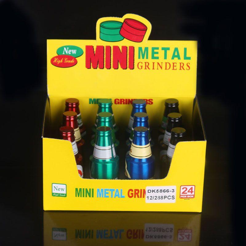Metal herb grinders beer shaped bottle tobacco grinders 3 layer herb grinder 2017 new heady metal smoking accessories DHL/EMS free