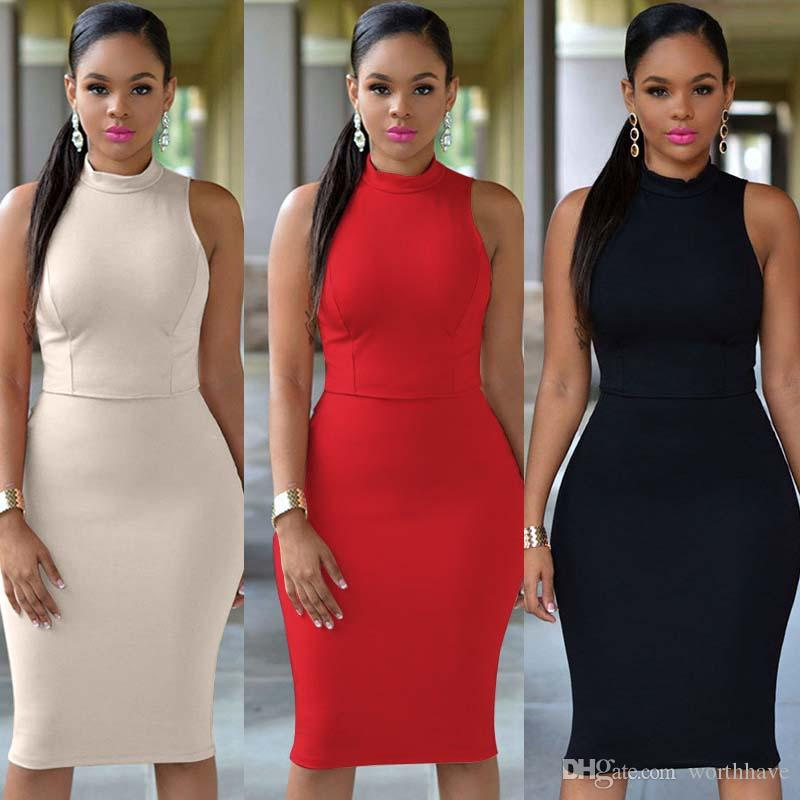 97765818d2b 2017 Women Sexy Casual Dress Plus Size Clothing Knee Length Bodycon  Sleeveless Dress Fashion Short And Long Dresses Evening Gowns Dresses From  Worthhave