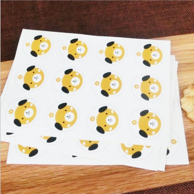 Etiqueta do design do cão do gato e do urso Etiqueta dos selos do alimento das etiquetas para a etiqueta da selagem do cozimento do bolo do presente de casamento