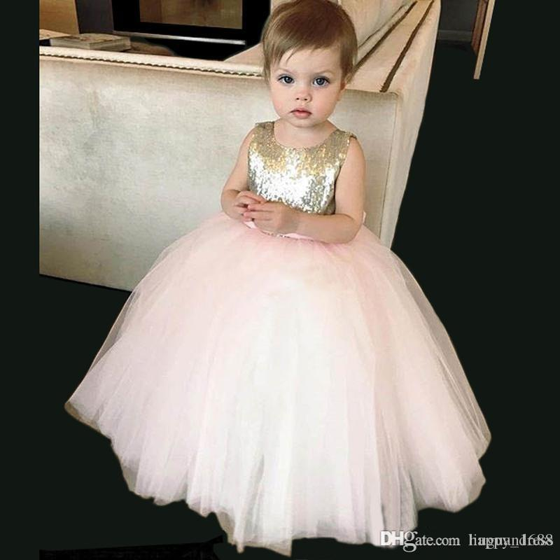 2017 Cute Gold Pink Sequined Flower Girl Dresses With Bow Sash Tulle Girl's Dress Wedding Birthday Parties Ball Gowns Girls Pageant Dresses