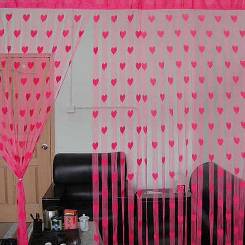 Sheer Curtains Hot Sale Cute Love Heart Tulle Voile Curtain for ...