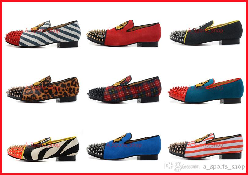 7cc05deeccd4 Classic Elegant Loafers Party Shoes Without Shoelace Spooky Flat For Mens  Womens new Red Bottoms Spiked Toe Wedding Sneakers Dynodent Spikes