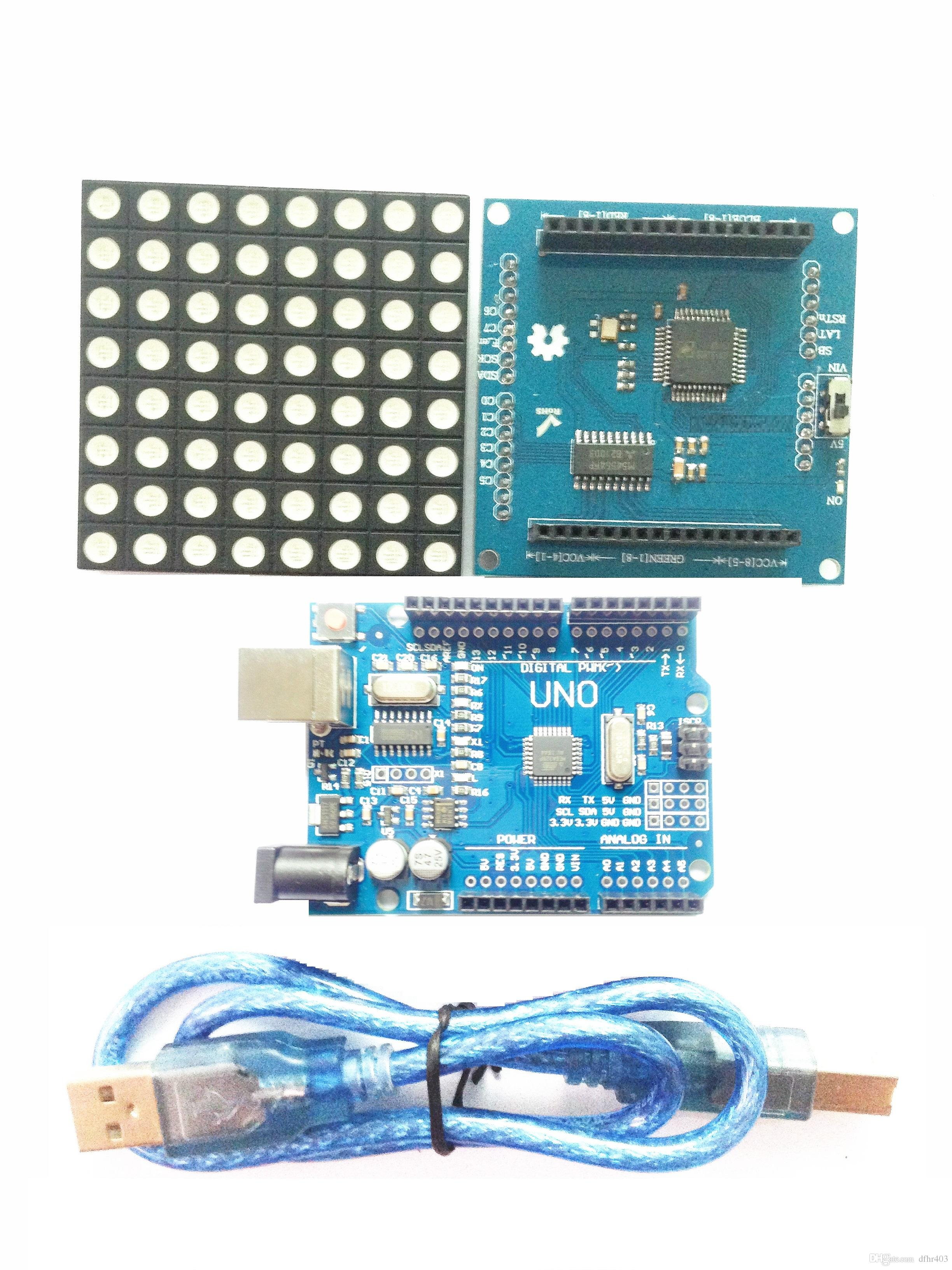 IKEYES T2 Arduino DIY KIT the color shield RGB Led Matrix Dot Panel  colorduino Arduino UNO Development Platform