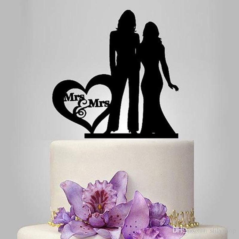 Personalized Black Acrylic Cake Topper Cake Topper Customized Wedding Mrs & Mrs Bride the Cake Topper