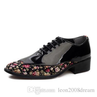 YENI popüler erkek düğün ayakkabı Erkek Patent deri parlak Renk eşleştirme ayakkabı Benzersiz erkekler rahat ayakkabılar 51682